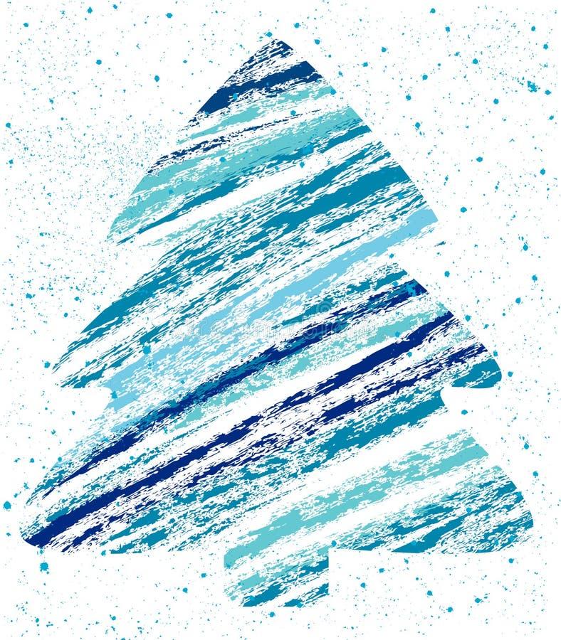 Desenho de giz abstrato da árvore de Natal ilustração do vetor