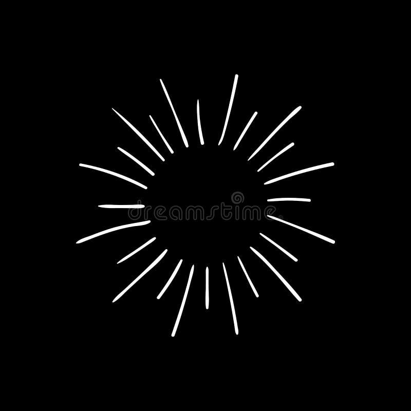 Desenho de giz retro do brilho do vetor, linhas brancas isoladas no fundo preto da placa ilustração royalty free