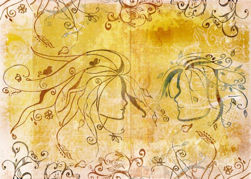Desenho de Grunge dos pares ilustração do vetor