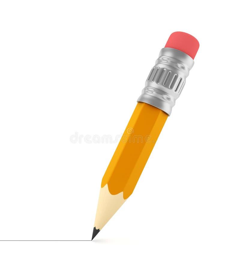 Desenho de lápis afiado minúsculo uma linha ilustração do vetor