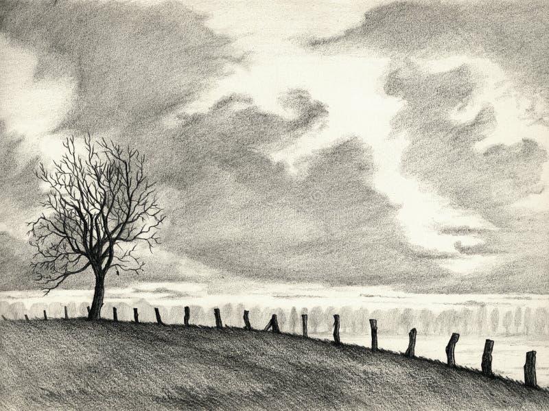 Desenho de lápis da paisagem ilustração stock