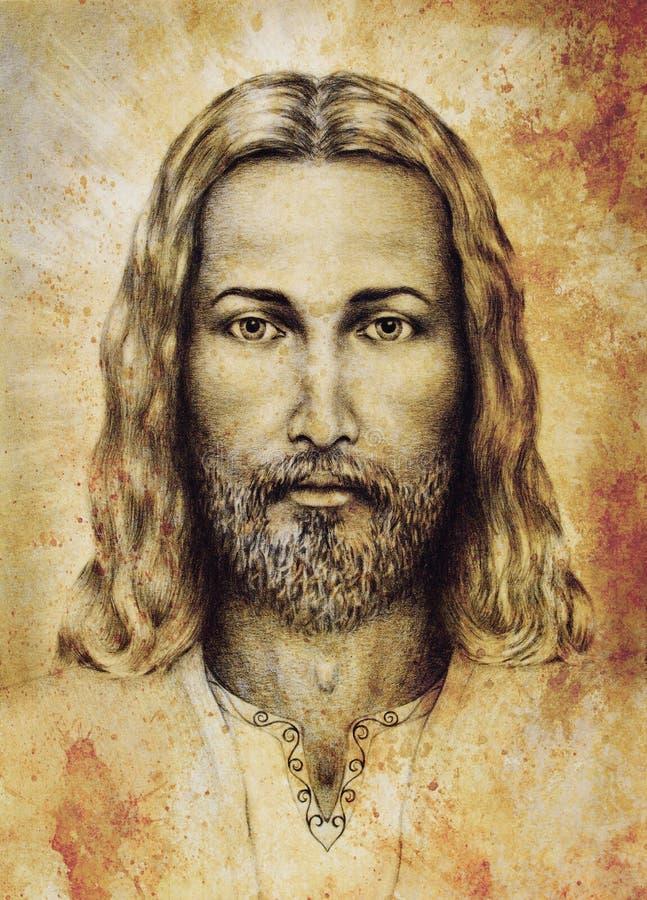 Desenho de lápis de Jesus no papel do vintage com o ornamento na roupa Papel velho da estrutura do sepia Contato de olho espiritu ilustração royalty free