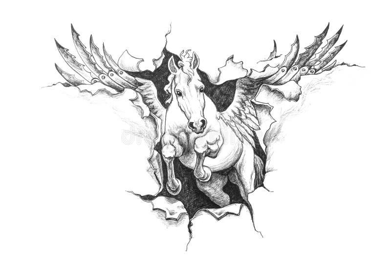 Desenho de lápis de Pegasus ilustração stock