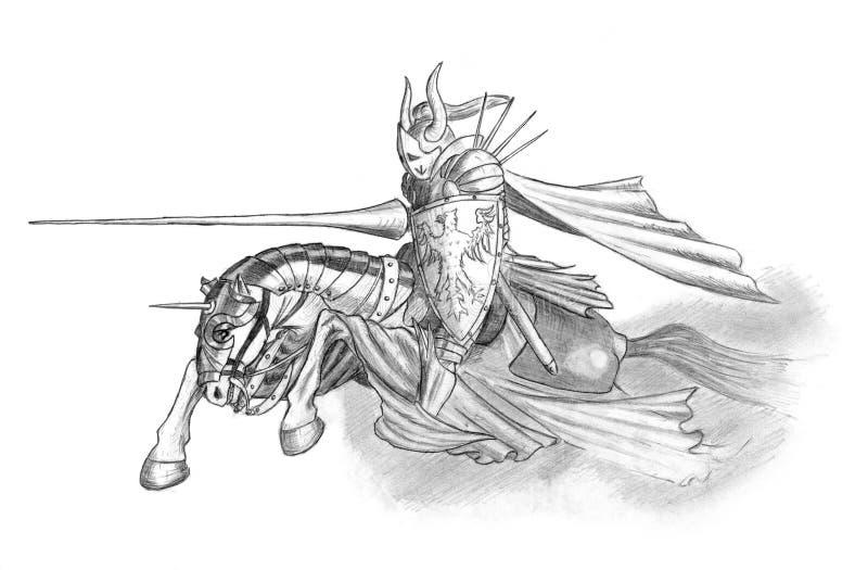 Desenho de lápis do cavaleiro Riding medieval ou da fantasia no cavalo com lança ilustração stock