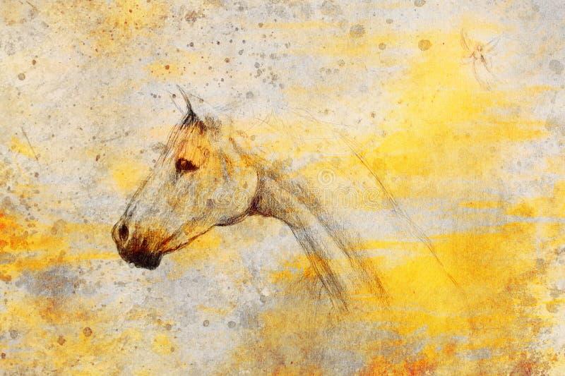 Desenho de lápis do cavalo e fada pequena no papel velho, no papel do vintage e na estrutura velha com pontos da cor ilustração stock