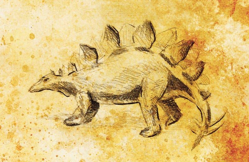 Desenho de lápis do Stegosaurus no papel velho, no papel do vintage e na estrutura velha com pontos da cor Tração original da mão ilustração stock