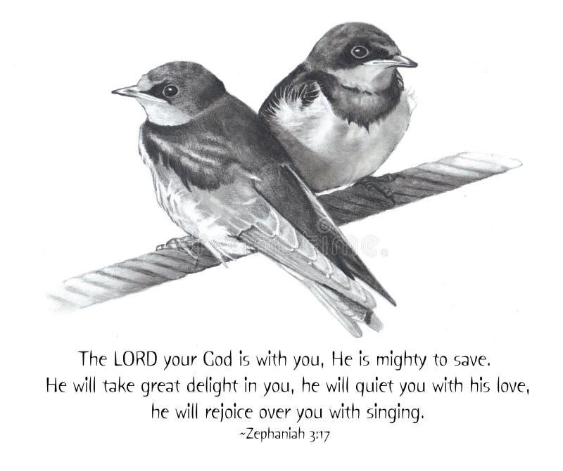 Desenho de lápis dos pássaros com verso da Bíblia ilustração royalty free