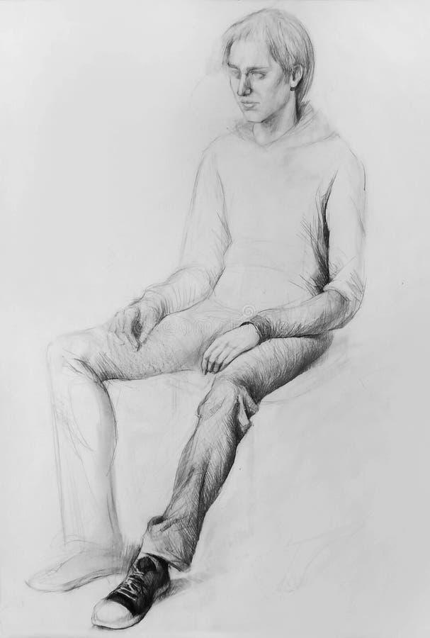 Desenho de lápis (modelo, ser humano, desenho anatômico) fotografia de stock