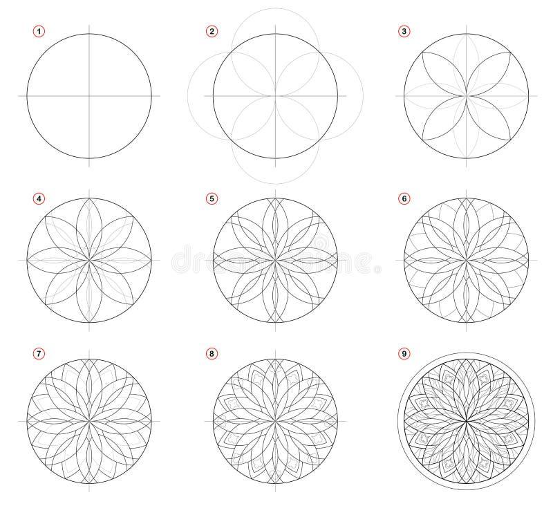 Desenho de lápis passo a passo da criação Mostras da página como aprenda tirar a janela de vitral gótico com rosa ilustração stock
