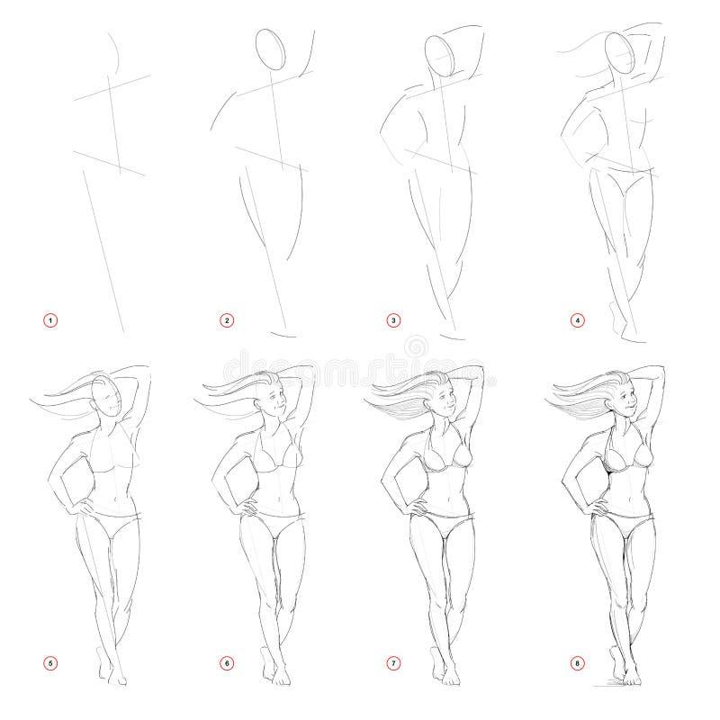 Desenho de lápis passo a passo da criação A página mostra como aprender o esboço da tração da figura ereta imaginária da mulher ilustração royalty free