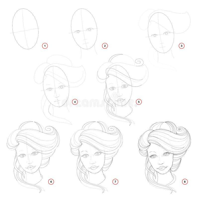 Desenho de lápis passo a passo da criação A página mostra como aprender o esboço da tração da menina imaginária com um penteado e ilustração do vetor
