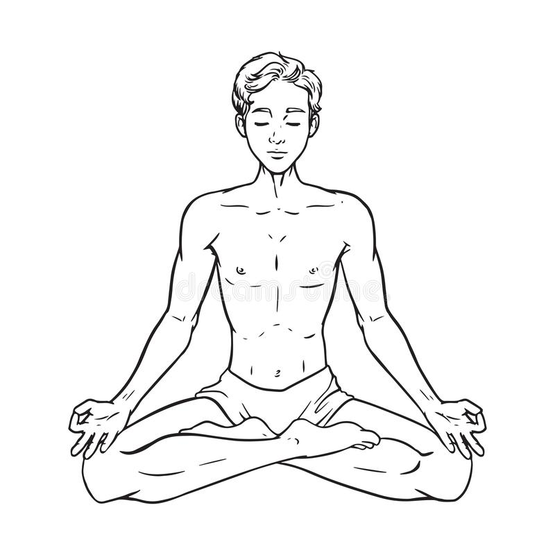 Desenho de meditar o iogue, homem relaxado na pose dos lótus, ilustração do vetor ilustração do vetor