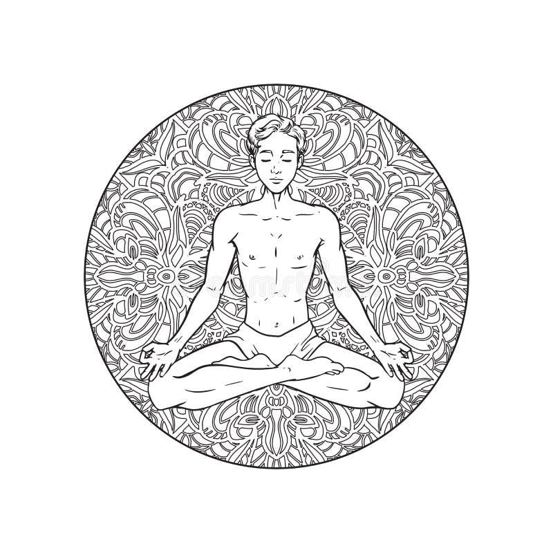 Desenho de meditar o iogue no fundo da mandala, homem relaxado na pose dos lótus, ilustração do vetor ilustração stock