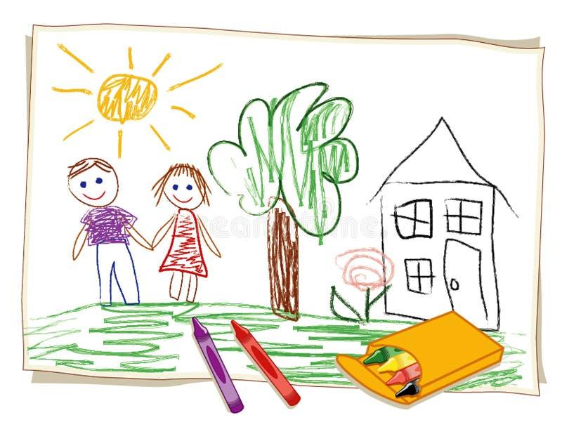 Desenho de pastel da criança (JPG+EPS) ilustração royalty free