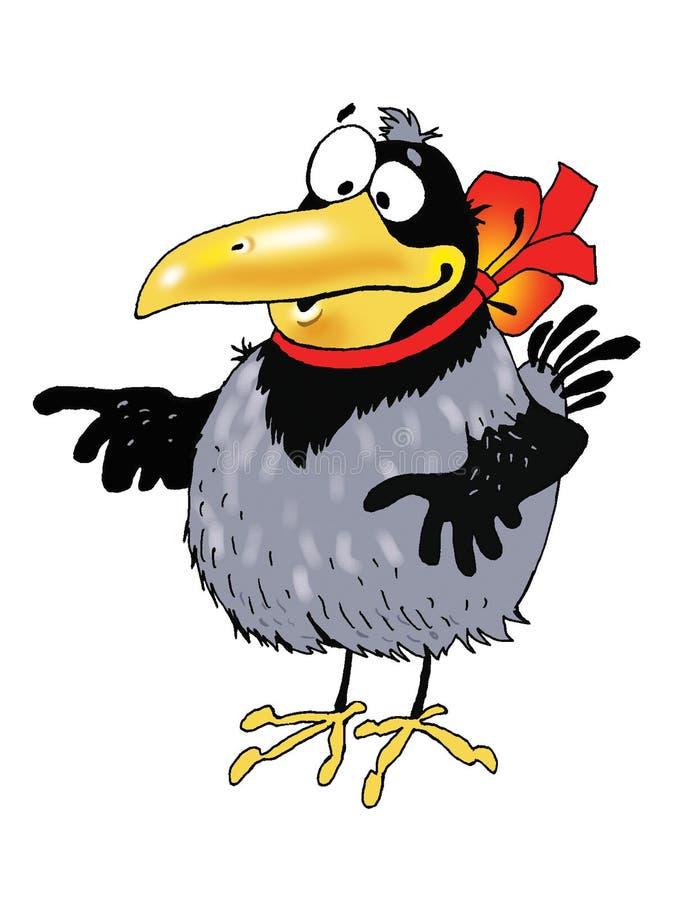 Desenho de personagem de banda desenhada engraçado do pássaro do corvo ilustração do vetor