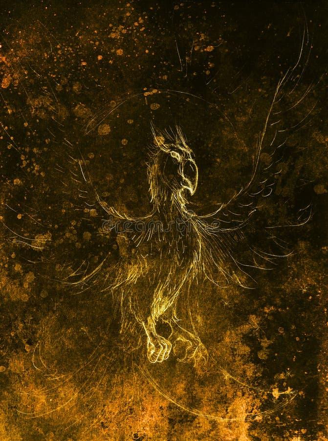 Desenho de phoenix colagem do computador e estrutura da cor ilustração do vetor