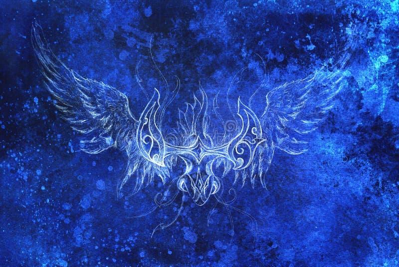 Desenho de phoenix decorativo colagem do computador e estrutura azul da cor Efeito do inverno ilustração stock