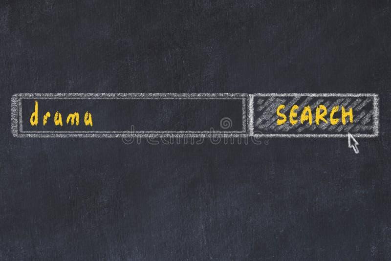 Desenho de quadro de referência da janela do navegador de pesquisa e drama de inscrição ilustração stock