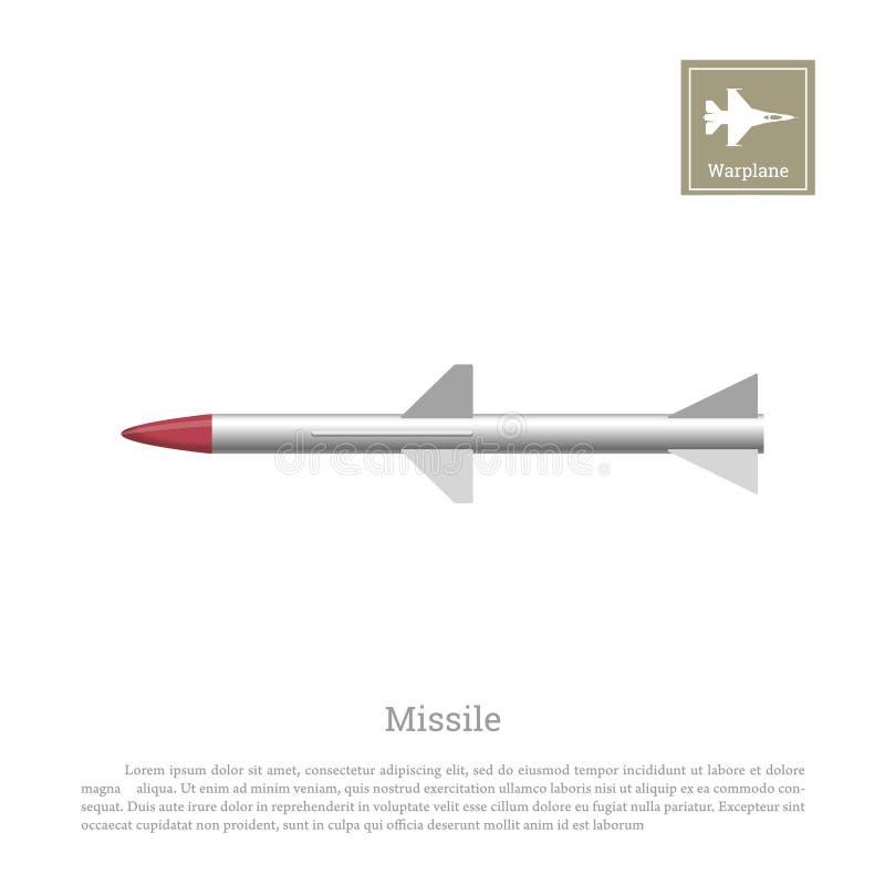 Desenho de Rocket em um fundo branco Ícone do míssil balístico ilustração do vetor