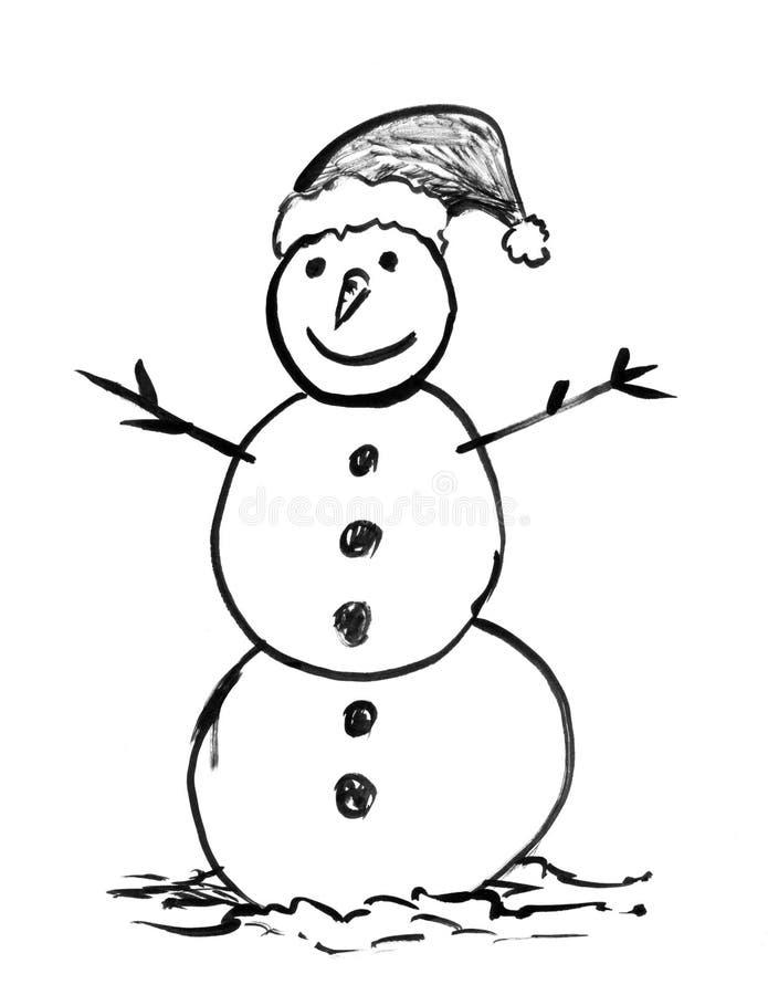 Desenho de tinta preta da mão do boneco de neve do inverno ilustração royalty free