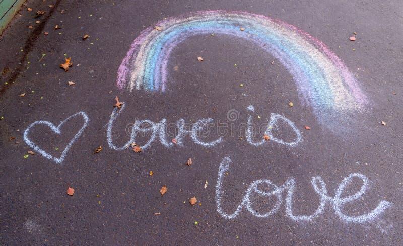 Desenho de um arco-íris fotografia de stock