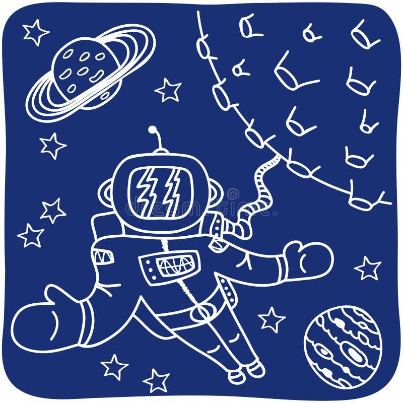 Desenho de um astronauta e de planetas ilustração do vetor