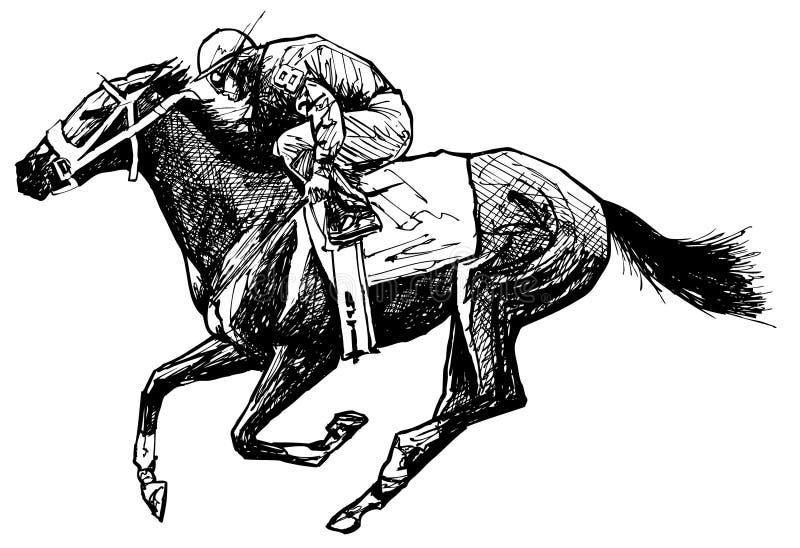 Desenho de um cavalo e de um cavaleiro ilustração do vetor