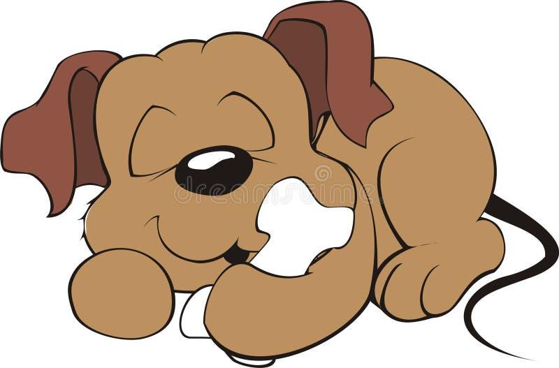 Desenho de um filhote de cachorro amigável imagem de stock