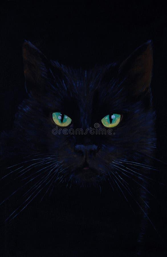 Desenho de um gato preto, pintura a óleo, os olhos de gato imagens de stock