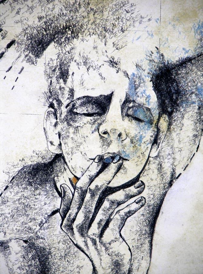 Desenho de um homem que fuma um cigarro