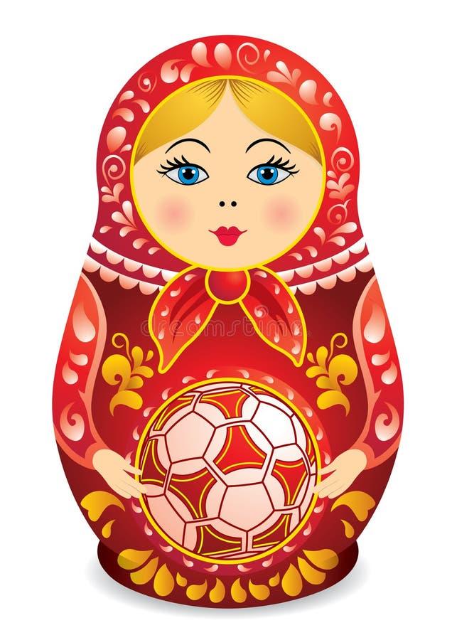 Desenho de um Matryoshka na terra arrendada vermelha e amarela uma bola de futebol em suas mãos Boneca de Matryoshka igualmente c ilustração royalty free