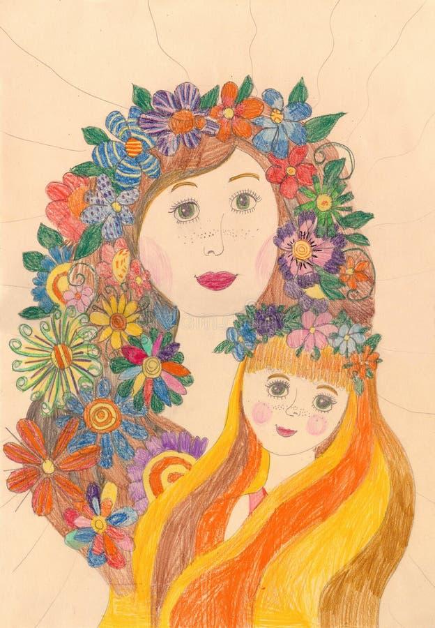 Desenho de uma família feliz Menina com uma grinalda das flores em sua cabeça fotografia de stock