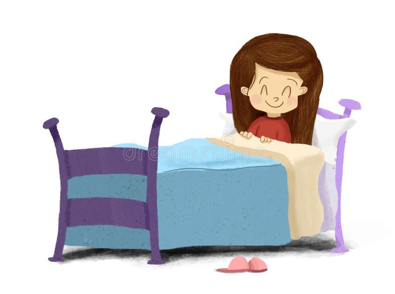 Desenho de uma menina que encontra-se no sorriso da cama pronto para dormir ilustração do vetor