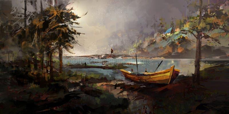 Desenho de uma paisagem da floresta com um barco e um homem ilustração stock