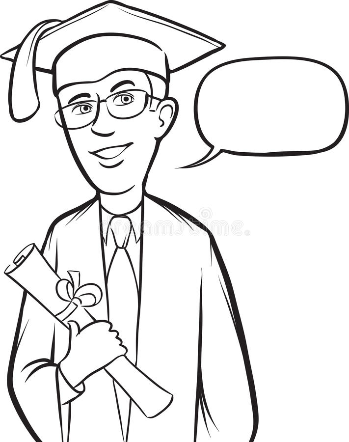 Desenho de Whiteboard - graduado de sorriso estando ilustração royalty free