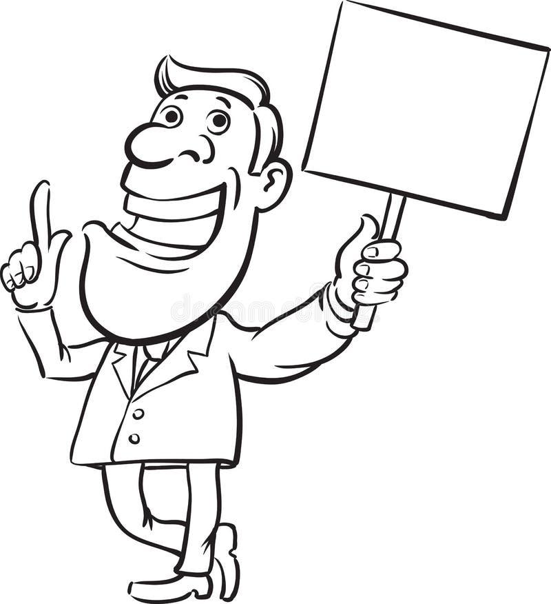 Desenho de Whiteboard - homem de negócios com discurso do sinal ilustração do vetor
