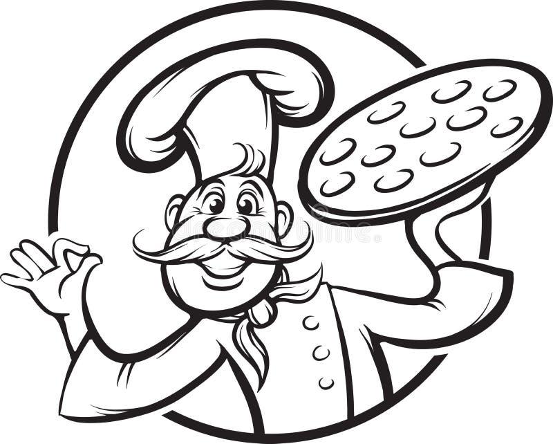 Desenho de Whiteboard - mascote do cozinheiro chefe da pizza dos desenhos animados ilustração royalty free