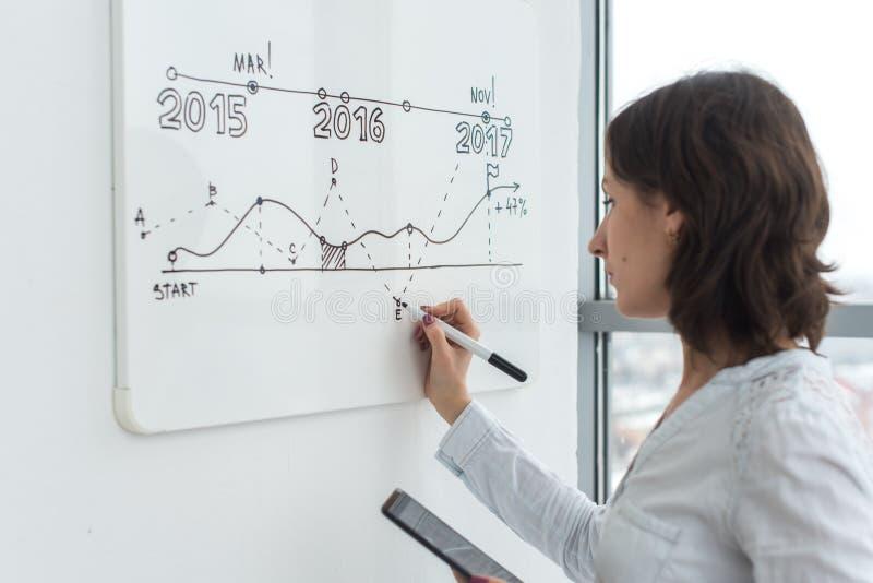Desenho de Woma na placa branca durante uma apresentação na sala de conferências foto de stock royalty free