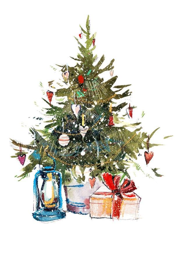 Desenho decorado da cor de água da ilustração da aquarela do ano novo de árvore de Natal ilustração royalty free