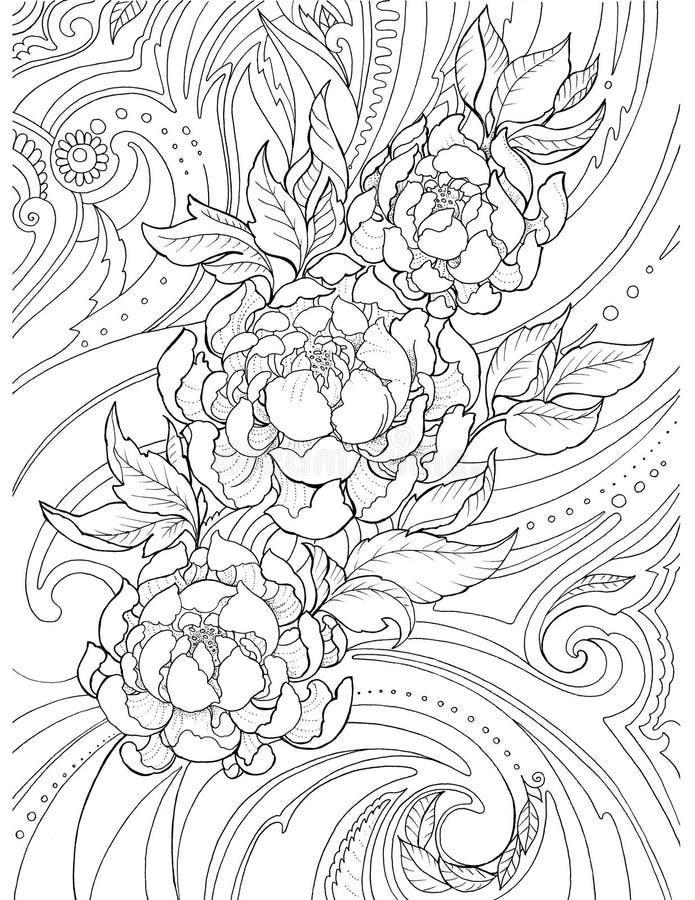 Desenho decorativo, abstrato de flores da peônia e testes padrões, tatt ilustração do vetor