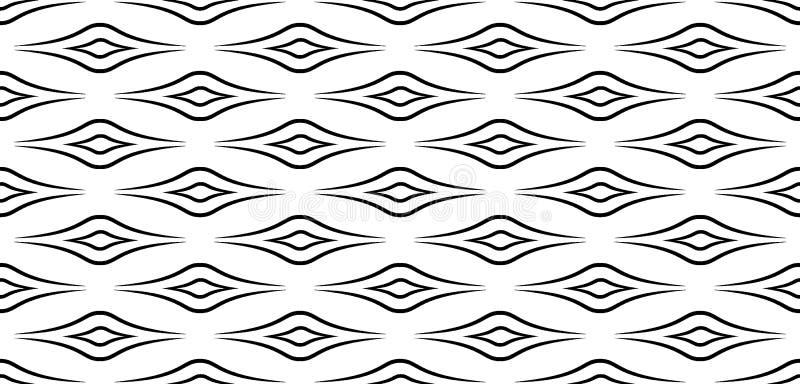 Desenho decorativo abstrato de formas geométricas Linhas pretas isoladas no fundo branco Abstração geométrica, sem emenda de ondu ilustração royalty free