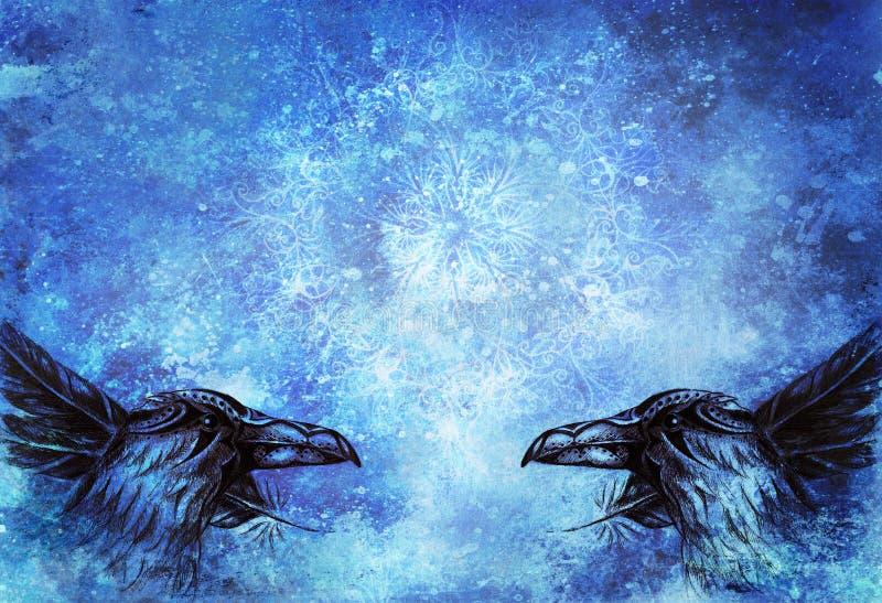 Desenho decorativo do corvo com penas e mandala ilustração do vetor