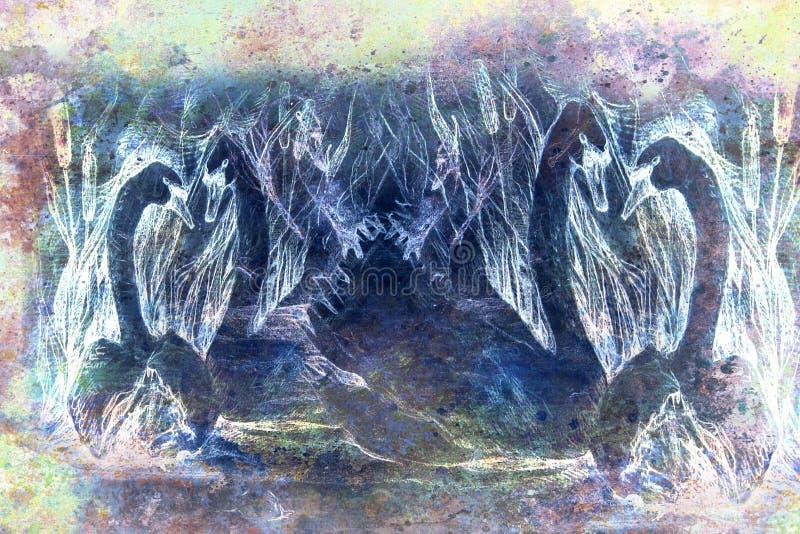 Desenho decorativo do estilo das cisnes que nadam na lagoa com juncos, monocromático ilustração do vetor