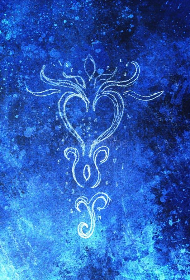 Desenho decorativo do filigran com feelingt congelado do tempo de inverno ilustração royalty free