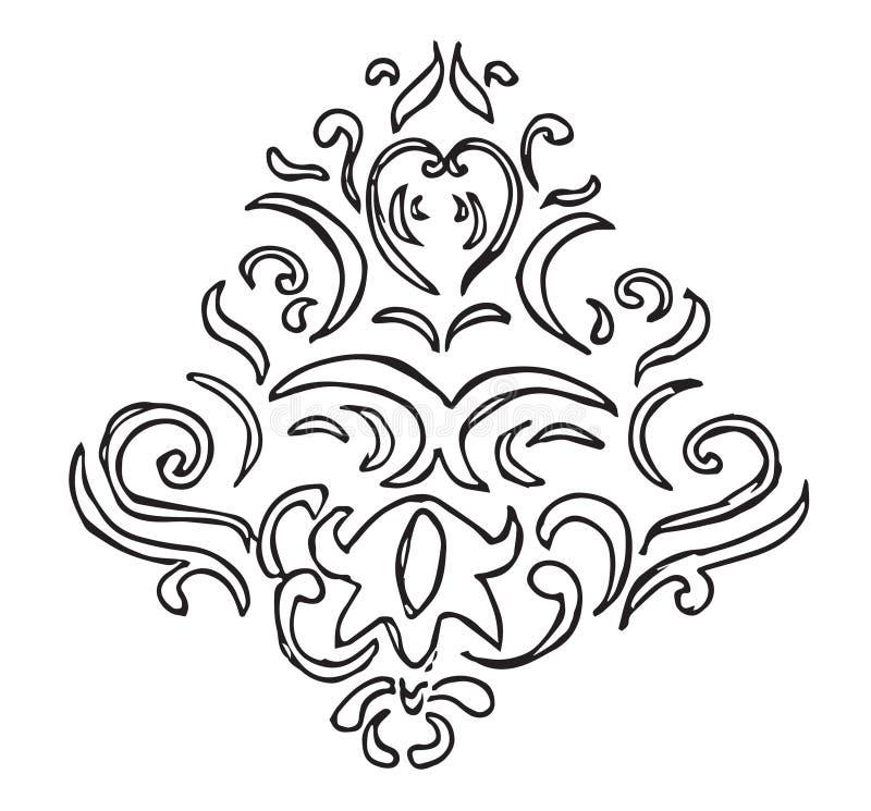 Desenho decorativo e floral da mão imagem de stock