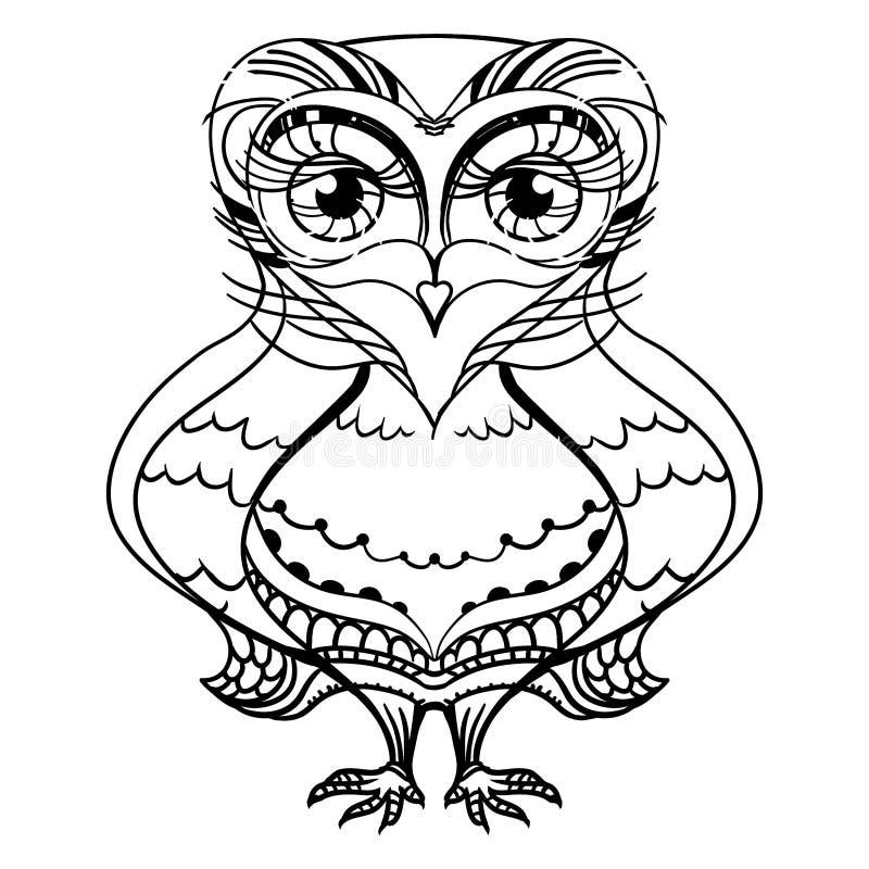 Desenho decorativo gráfico da coruja preto e branco ilustração do vetor
