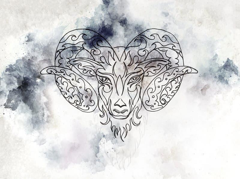 Desenho decorativo linear do Áries, símbolo animal sagrado ilustração stock
