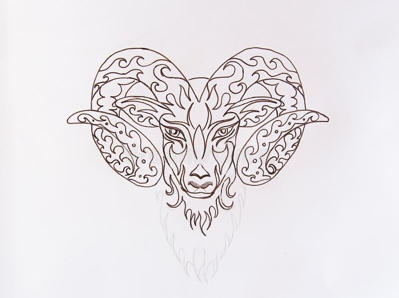 Desenho decorativo linear do ?ries, s?mbolo animal sagrado ilustração stock