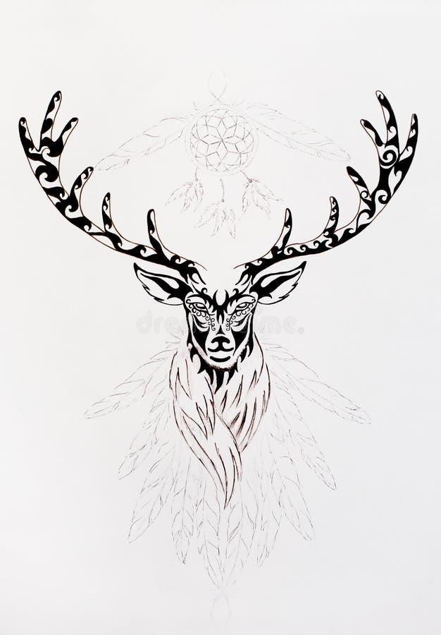 Desenho decorativo linear dos cervos com chifres, símbolo animal sagrado ilustração stock