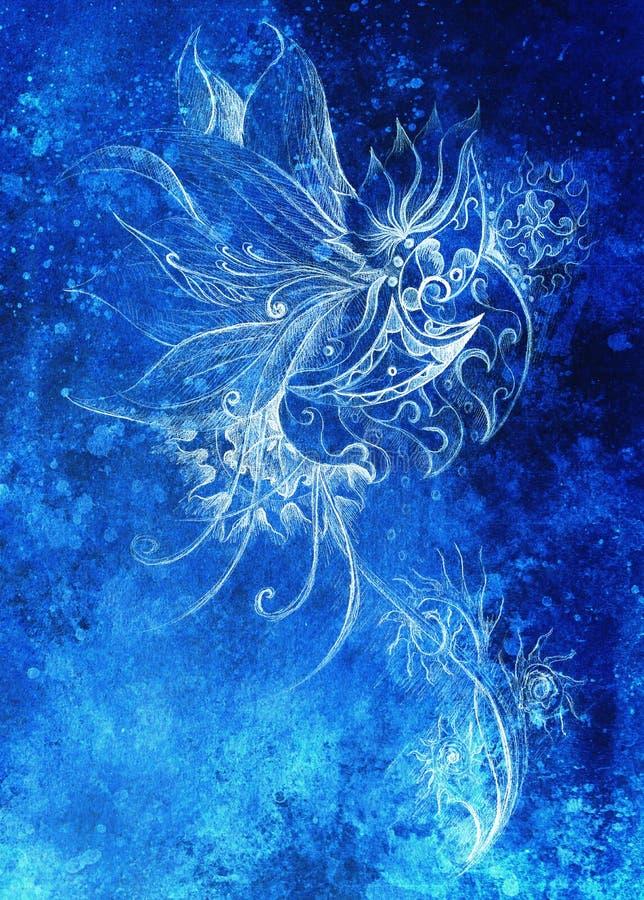 Desenho decorativo Tração da mão e colagem originais do computador Estrutura da cor Estrutura azul da cor fotos de stock royalty free